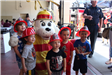 Kids with Sparky the Fire Dog at 2019 La Mesa Pancake Breakfast