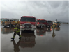 Fire and Rescue Vehicles Parked on Cloudy Rainy Day 2