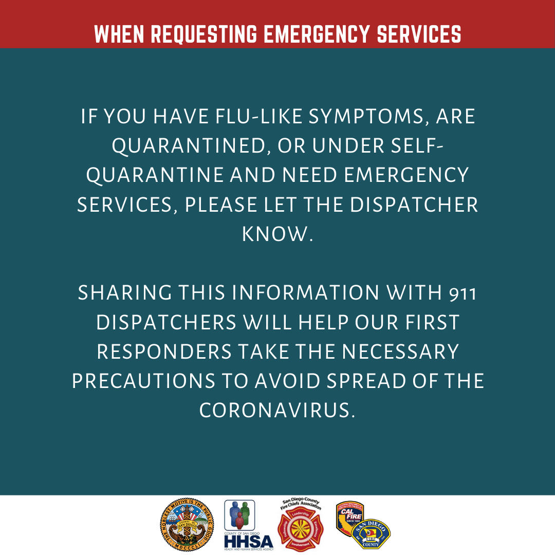 911 Coronavirus Graphic Let Dispatch Operator Know if You Have Flu Symptoms Or Are Under Quarantine