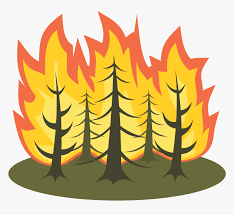 Trees on fire clipart