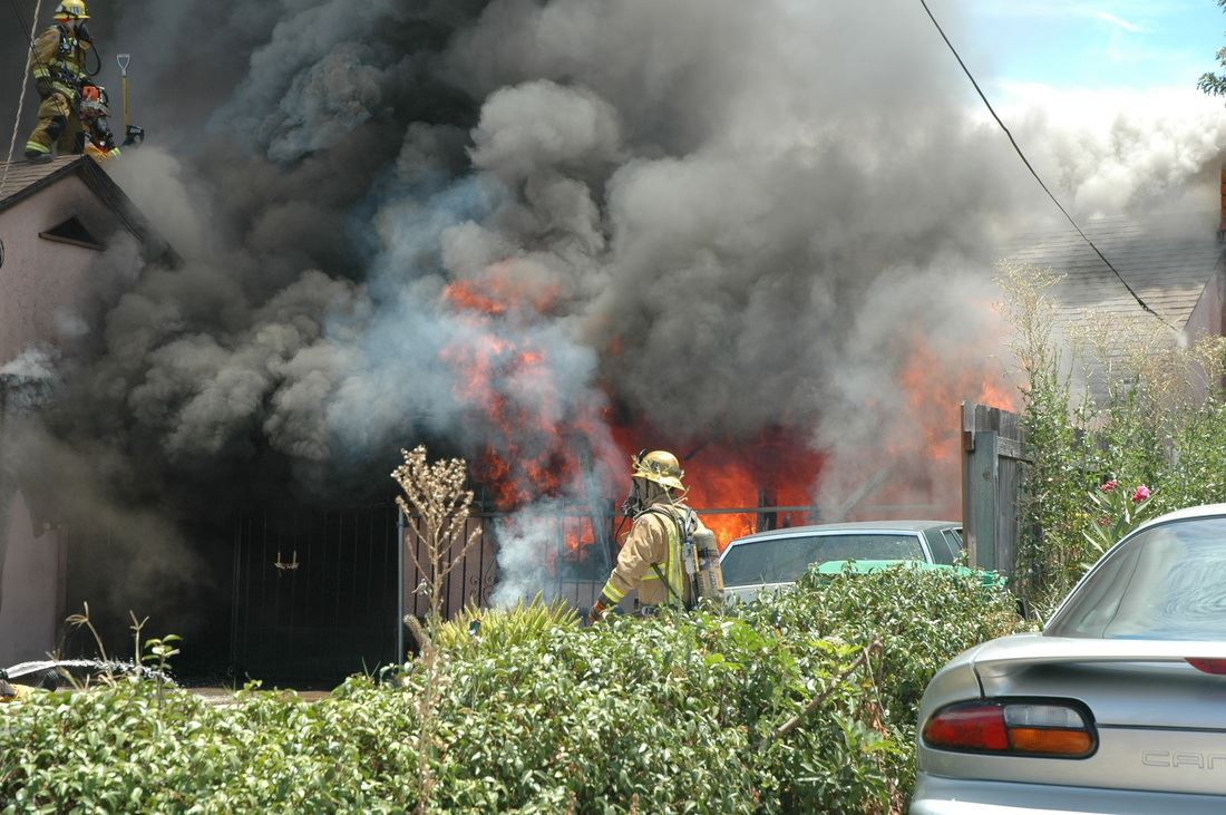 House burning and covered in smoke