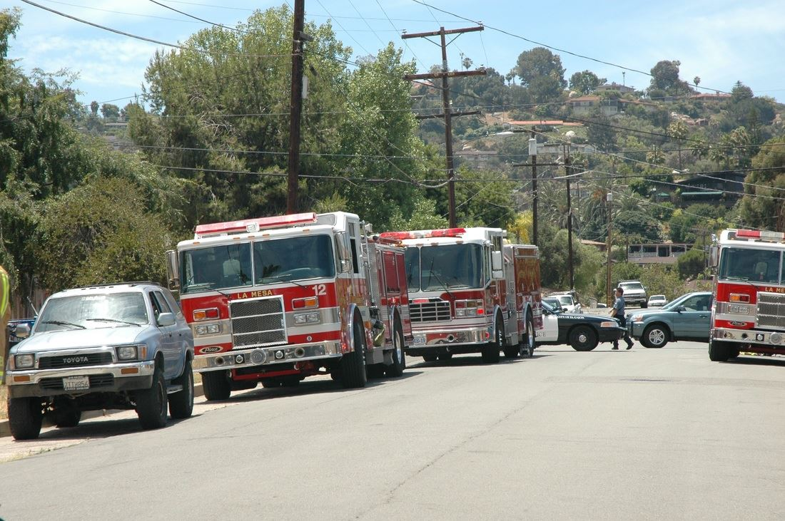 La Mesa Fire Trucks and Police Cars on a Street